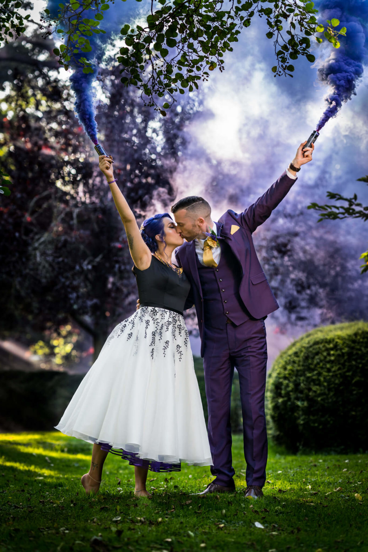 Halloween wedding smoke bombs at The Mill Barns